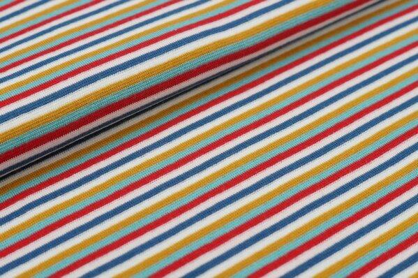 Ringelbündchen bunte Streifen taupe blau / lachs / rot / eisblau / senf