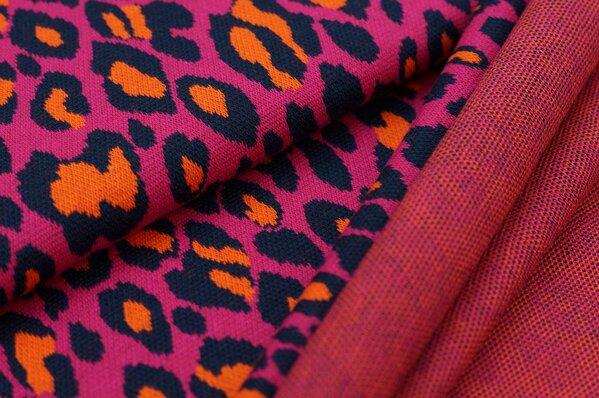 Jacquard-Sweat Ben mit Leoparden Design amarant pink / navy blau / orange