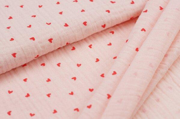 Musselin Stoff Double Gauze kleine rote Herzen auf lachs rosa