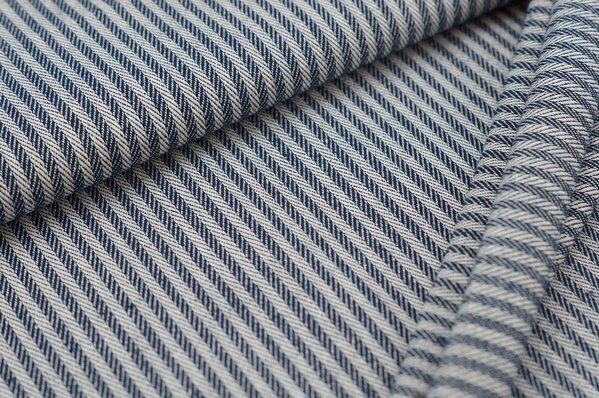 Canvas-Stoff Dekostoff Streifen Linien-Muster dunkelblau / weiß
