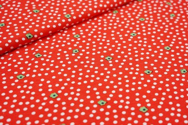 Viskose-Jersey Punkte und Blumen Blüten rot / weiß / grün
