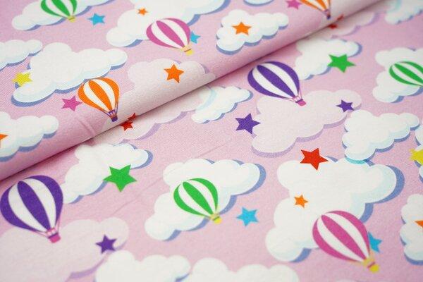 Baumwoll-Jersey mit bunten Heißluftballons Sterne und Wolken auf rosa