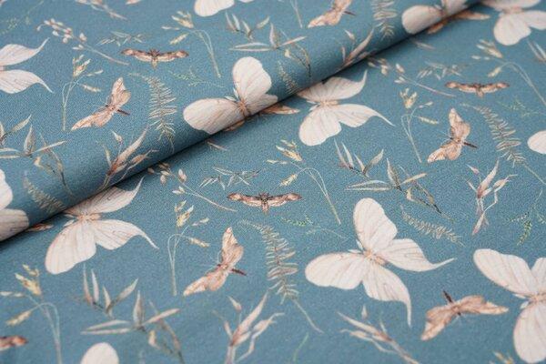 Digitaldruck Baumwoll-Jersey Schmetterlingen und Zweigen auf altblau