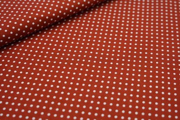 Baumwollstoff Baumwolle kleine Punkte rostrot / weiß