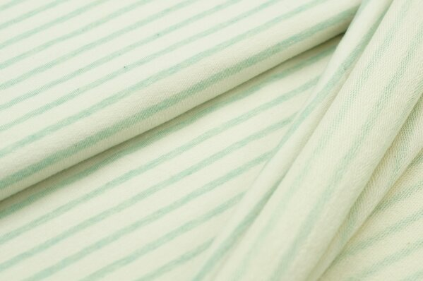 XXL Baumwollsweat Maya Melange Streifen mittel pastell mint und off white