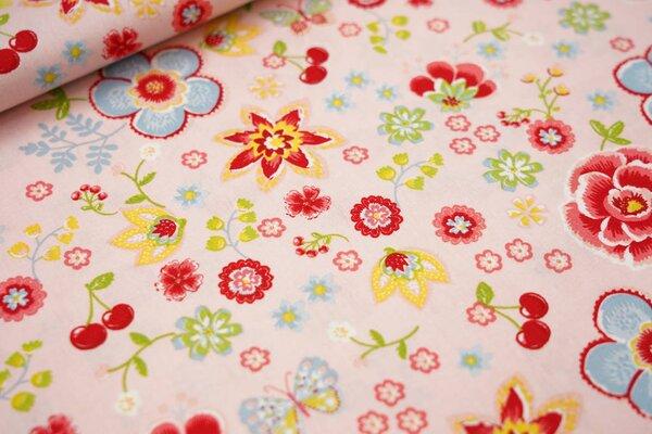 Baumwolle Blumen Schmetterlinge Kirschen rosa / rot / hellbau / gelb