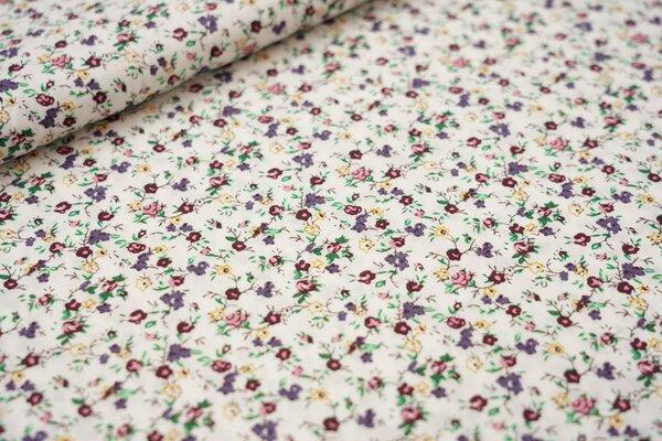 Baumwollstoff kleine Blümchen Blumen weiß / bordeaux / blaulila / rosa / gelb