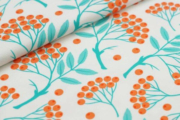Baumwoll-Jersey Digitaldruck Vogelbeeren in orange / aqua türkis off white