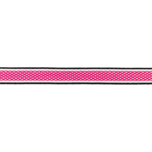 Netzband Zierband mit Streifen pink / weiß / schwarz