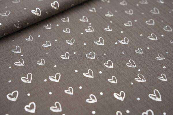 Musselin Stoff Double Gauze taupe grau mit silbernen Herzen und Punkten