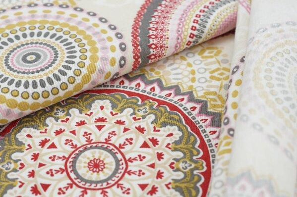 Dekostoff Canvas Retro-Muster florale Kreise auf ecru
