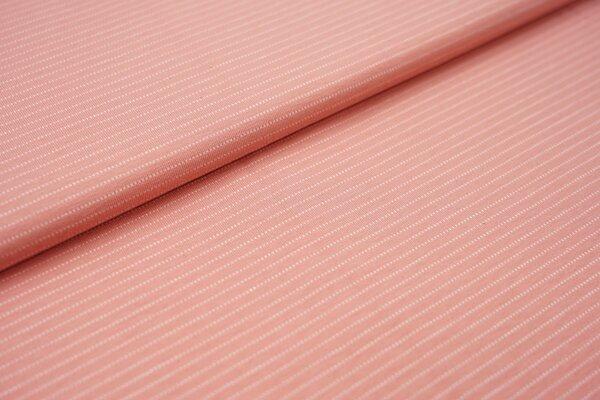 Baumwoll-Jersey zarte weisse gepunktete streifen auf lachs rosa