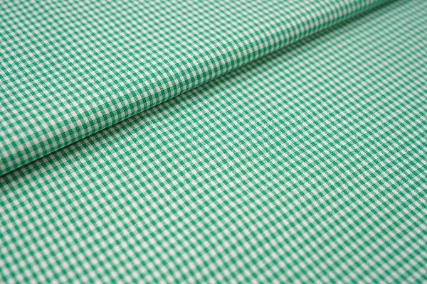 Baumwollstoff Baumwolle vichykaro Karomuster sehr klein kariert weiß / grasgrün