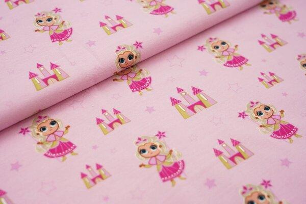 Baumwoll-Jersey Prinzessin Schloss und Sterne auf rosa