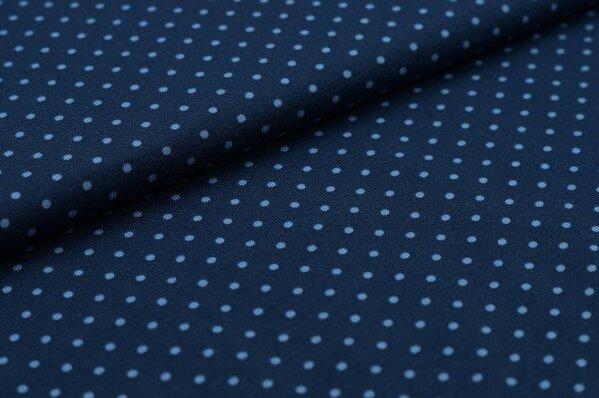 Baumwoll-Jersey kleine hellblaue Punkte auf dunkelblau
