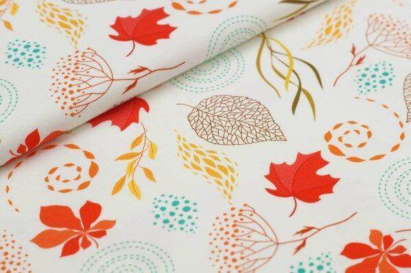 Baumwoll-Jersey Digitaldruck Herbst Blätter Muster klein auf off white