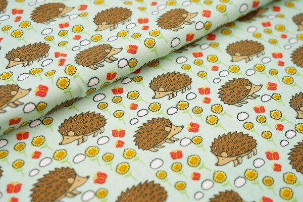 Baumwoll-Jersey Igel Schmetterlinge und Blumen auf mintgrün