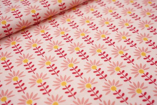 Baumwolle Blumen hellrosa / koralle / rot / gelb