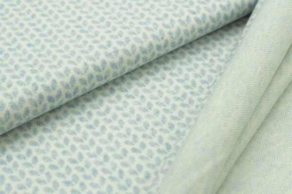 Jacquard-Sweat Mia kleine pastell hellblau Melange Blätter auf off white