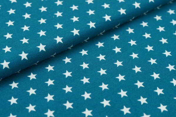 Baumwoll-Jersey kleine Sterne petrol / weiß