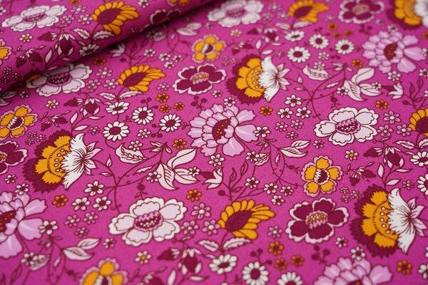 Baumwollstoff bunte Blumen auf pink