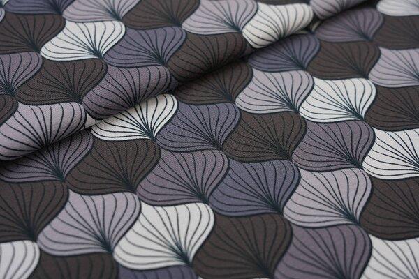 Baumwoll-Jersey Blumen Muster Zwiebeln hellgrau / grau / dunkelgrau