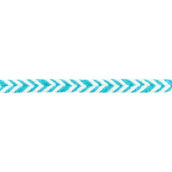 Baumwollkordel Fischgrät weiß / aqua blau 10 mm breit