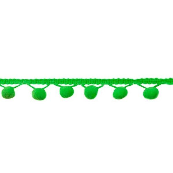 Bommelborte uni neon grün 24 mm