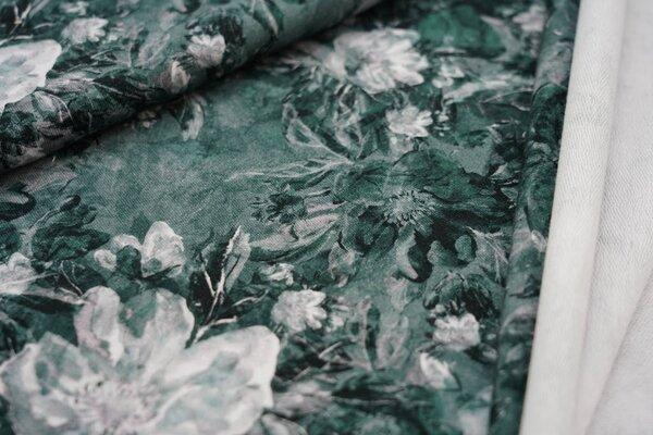 Baumwoll-Sweat Digitaldruck große Blumen Blüten dunkelgrau / grün