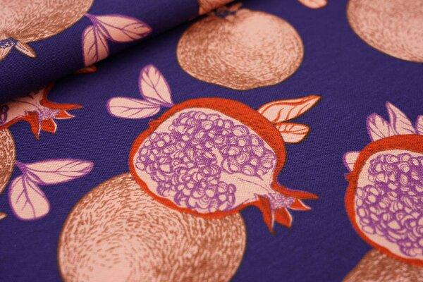 Canvas-Stoff Dekostoff in Leinenoptik Granatäpfel auf dunkelblau