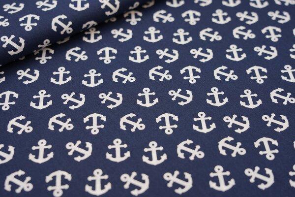 Baumwolle wilde Anker dunkelblau / weiß maritim