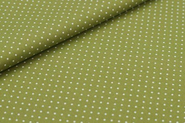 Baumwollstoff Baumwolle olivgrün mit kleinen weißen Punkten