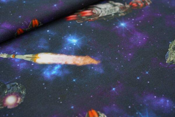 Digitaldruck Baumwoll-Jersey Weltall Planeten Raketen Sterne dunkelblau schwarz