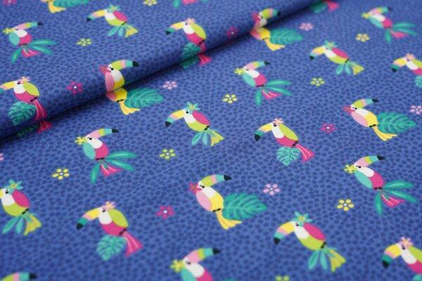 Baumwoll-Jersey bunter Vogel Tukan Blumen und Punkte auf taupe blau