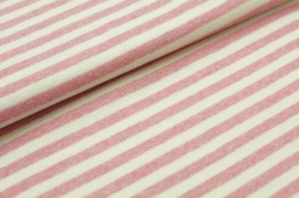 Ringelbündchen Maya pastell pink Melange / off white Streifen