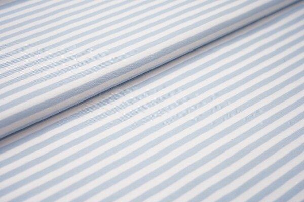 Baumwoll-Jersey Streifen Ringel weiss / hellblau babyblau