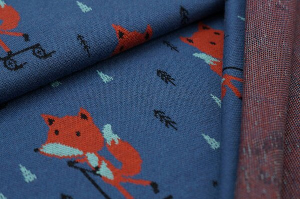 Jacquard-Sweat Ben Roller Fuchs und Tannenbäume taupe blau rostorange eisblau