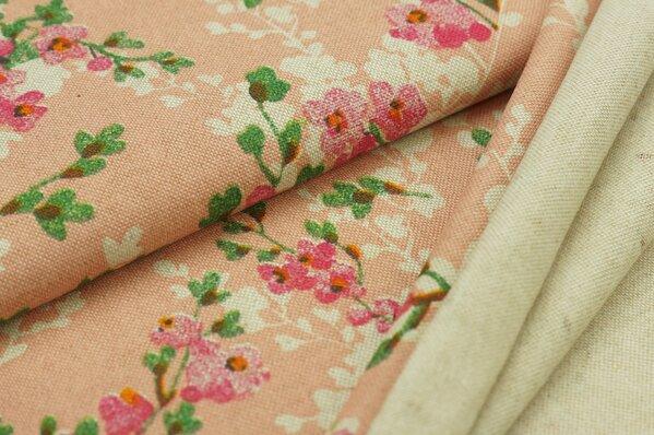 Dekostoff in Leinenoptik mit Kirschblütenzweigen auf rosa / natur