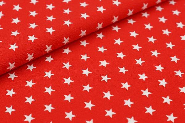 Baumwoll-Jersey kleine Sterne rot / weiß