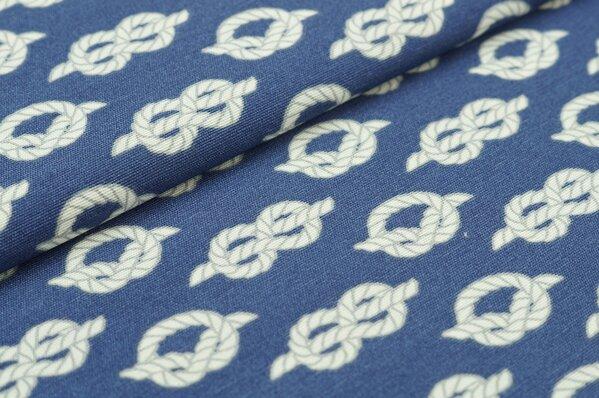 Dekostoff weiß-graue Seemannsknoten Seile auf blau maritim