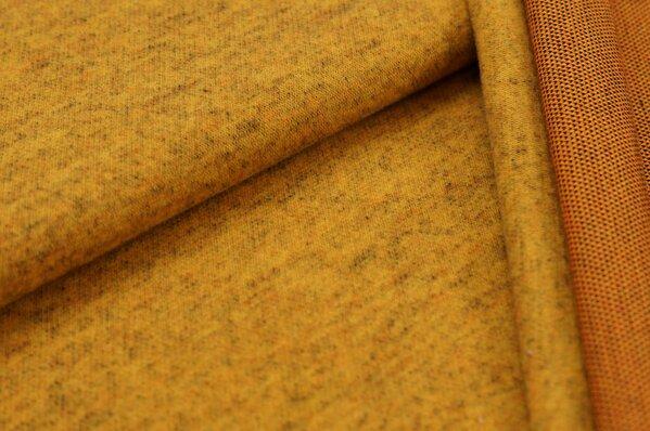 Kuschel Jacquard-Sweat Max senf mit braun und orange