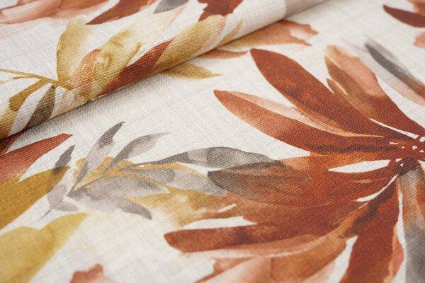 Canvas-Stoff Dekostoff große Blätter Farne hell beige / rotbraun / braun