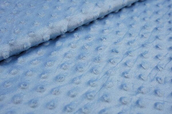 Minky Bubble Fleece-Stoff mit Noppen Punkte uni taupe blau