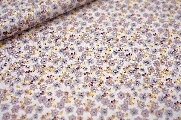 Baumwolle kleine Blumen Blüten weiß / hell lila / gelb / beige / violett
