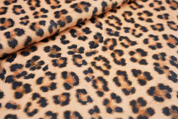 Samtiger Velours Dekostoff Leopardenfell Muster orangegelb / braun / schwarz
