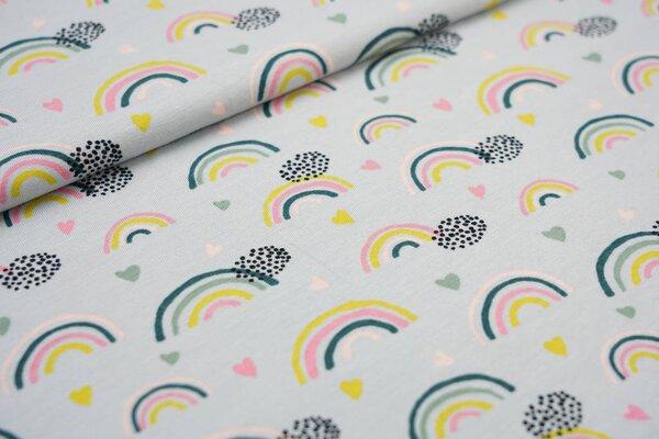 Baumwoll-Jersey Regenbögen Punkte und Herzen auf hellgrau Regenbogen