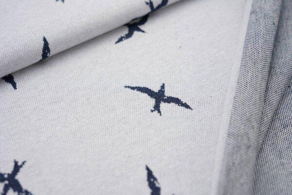 Jacquard-Jersey große navy blau melierte Schwalben auf off white maritim