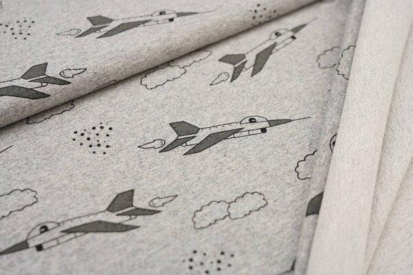 Baumwollsweat schwarz graue Düsenjets Flieger in den Wolken auf grau meliert