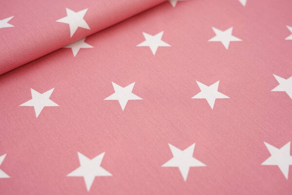 Baumwollstoff Baumwolle himbeerrosa mit sehr großen weißen Sternen