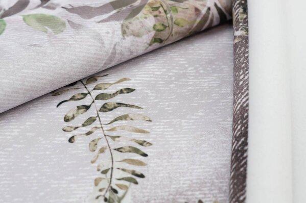 Softshell-Stoff Blätter-Muster in Jeans-Optik grau / grün / pastell rosa